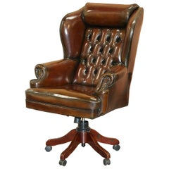 Harrods Restored Hand Dyed President Brown Leather Directors Captains Chair