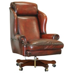 Harrods Restored Hand Dyed President Oxblood Leather Directors Captains Chair