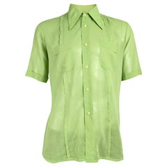 Harrods Vintage Mens Sheer Green Shirt, 1960s