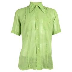 Harrods Vintage Mens Sheer Green Shirt, 1960s