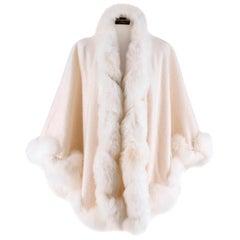 Harrods White Cashmerere Fox Fur Trim Cape