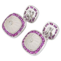 Harrods White Gold Diamond Ruby and Crystal Cufflinks