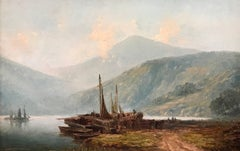 Loch Lomond Scotland Fishing Boats 19th Century Oil Painting