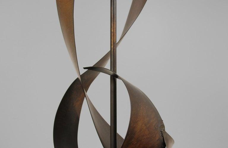 Harry Balmer Brutalist Metal Ribbon Table Lamp for Laurel For Sale 3