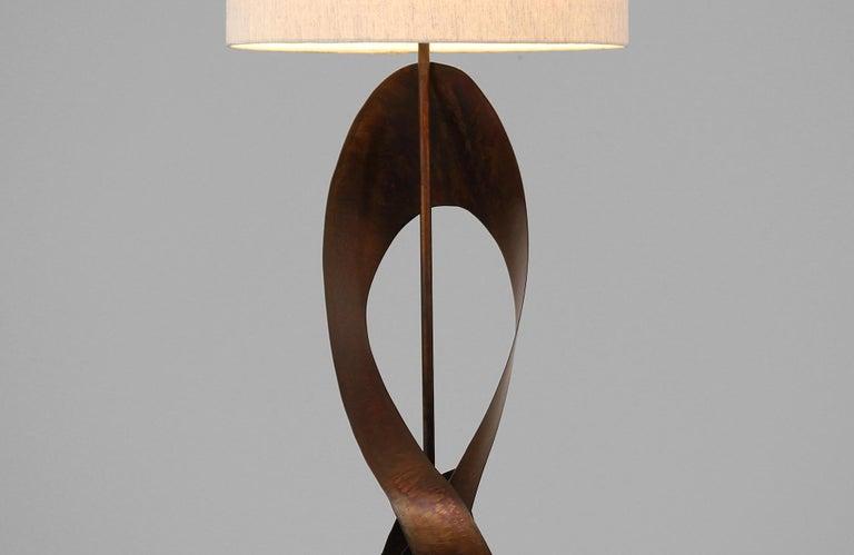 Harry Balmer Brutalist Metal Ribbon Table Lamp for Laurel For Sale 1