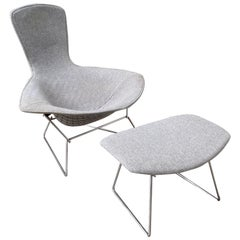 Harry Bertoia Bird Chair and Ottoman in Gray Wool