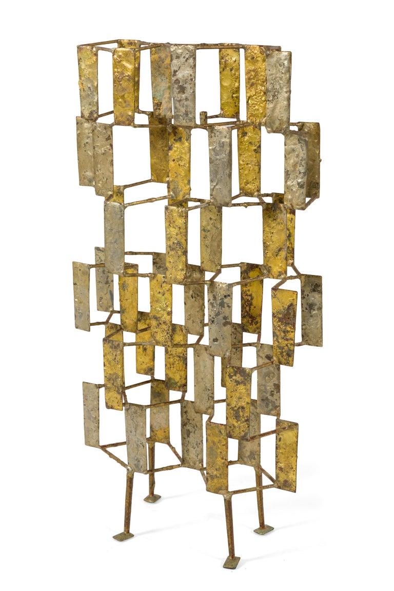 American Harry Bertoia Brass Melt Coated Multi Plane Panel Sculpture, USA, 1955 For Sale