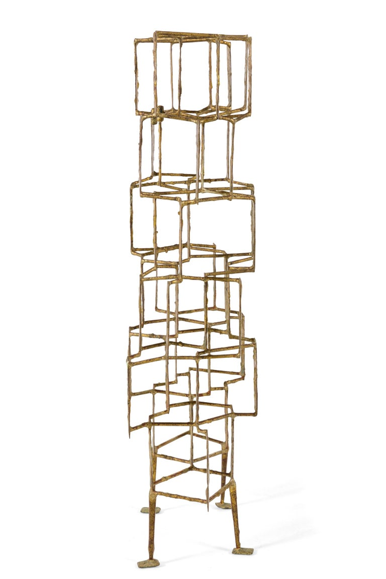 Harry Bertoia Brass Melt Coated Multi Plane Panel Sculpture, USA, 1955 In Good Condition For Sale In New York, NY