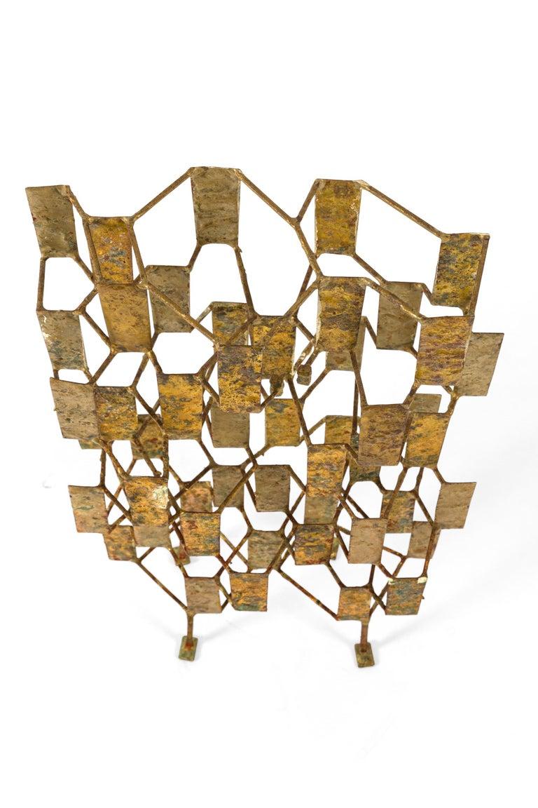 Mid-20th Century Harry Bertoia Brass Melt Coated Multi Plane Panel Sculpture, USA, 1955 For Sale