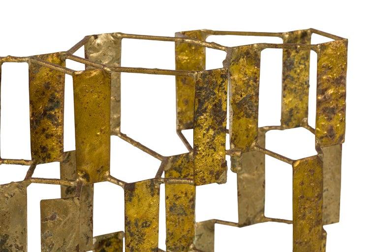 Harry Bertoia Brass Melt Coated Multi Plane Panel Sculpture, USA, 1955 For Sale 2