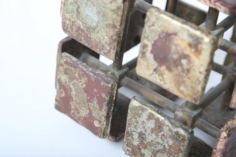 American Harry Bertoia Bronze Multi-Plane Cube Sculpture For Sale