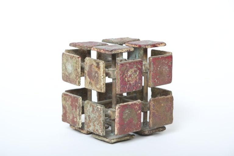 Patinated Harry Bertoia Bronze Multi-Plane Cube Sculpture For Sale