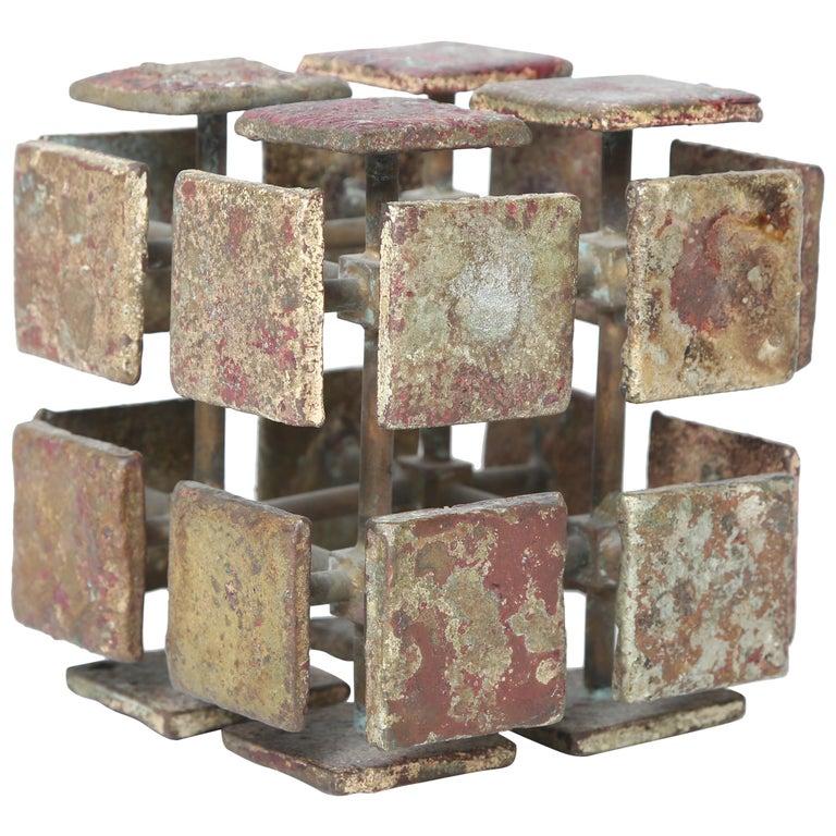 Harry Bertoia Bronze Multi-Plane Cube Sculpture For Sale