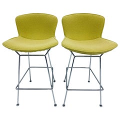 Harry Bertoia Chrome Bar Stools with Citron Yellow Covers for Knoll, a Pair