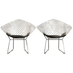 Harry Bertoia Chrome Diamond Chairs by Knoll with Black Seat Covers