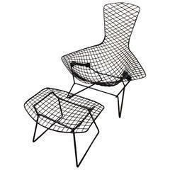 Harry Bertoia for Knoll Bird Chair and Ottoman Midcentury