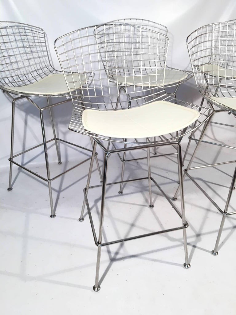 Harry Bertoia For Knoll Chrome Wire Bar Stools Set Of