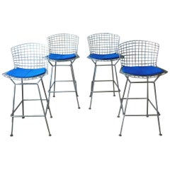 Harry Bertoia for Knoll Set of Four Mid-Century Modern Chrome Bar Stools