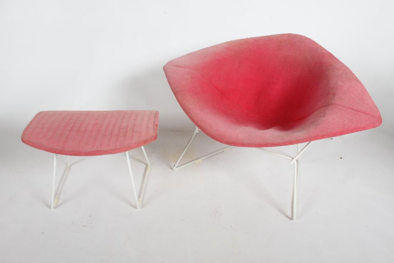 Harry Bertoia for Knoll Wide White Diamond Chair & Ottoman with Pink Upholstery  For Sale 7