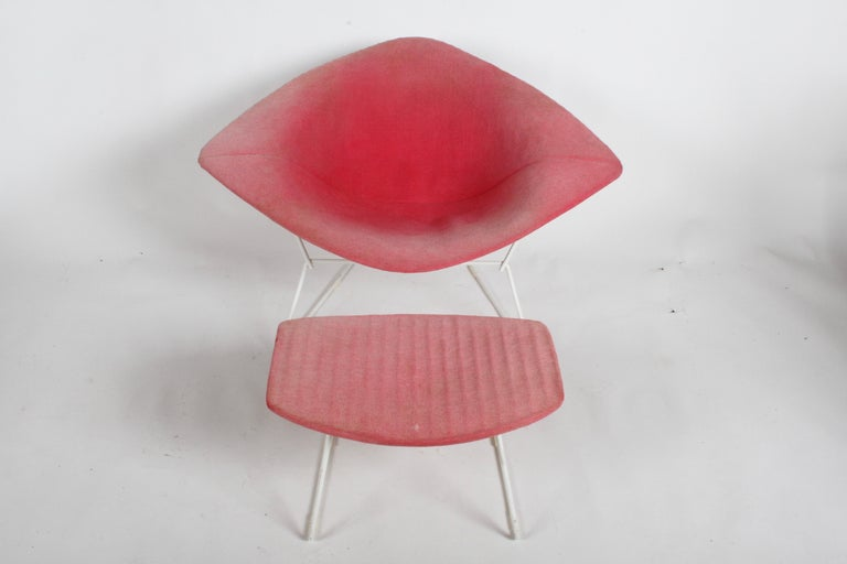 Mid-Century Modern Harry Bertoia for Knoll wide version diamond chair with ottoman, frames are original white paint an original but faded pink Knoll textile covers. Minor scuffs to frames, ottoman foam is bad, rubber shock mounts are good, all