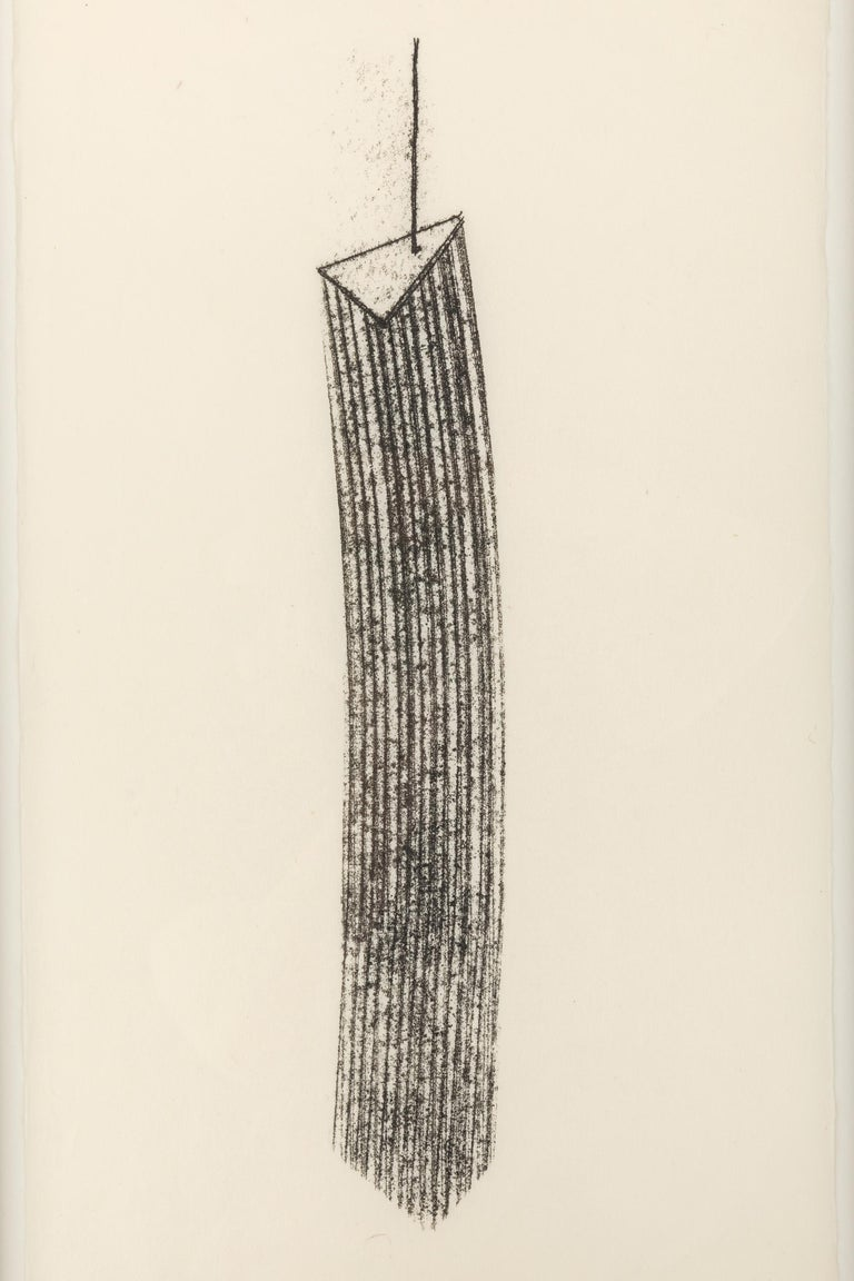 Bertoia created hundreds if not thousands of one of a kind monotypes in his career, often as working drawings for his sculpture works. He employed a variety of techniques to arrive at his unique ends, most often scribing the reverse of a paper on an