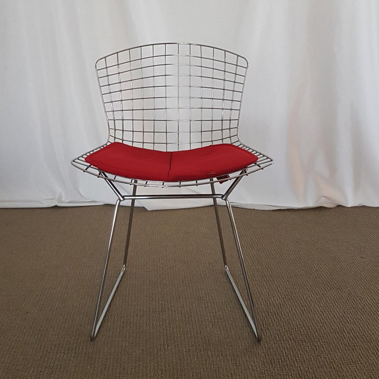 Harry Bertoia Italian Steel Wire Side Chair with Red Cushion, Mid-Century Modern For Sale 9