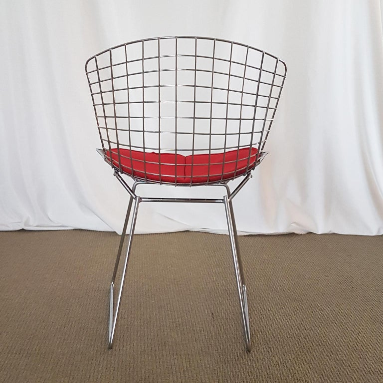 Late 20th Century Harry Bertoia Italian Steel Wire Side Chair with Red Cushion, Mid-Century Modern For Sale