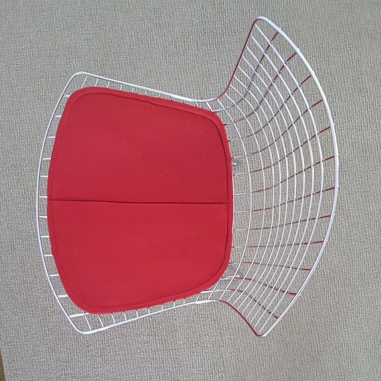 Harry Bertoia Italian Steel Wire Side Chair With Red Cushion Mid Century Modern For