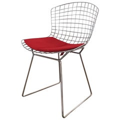 Harry Bertoia Italian Steel Wire Side Chair with Red Cushion, Mid-Century Modern