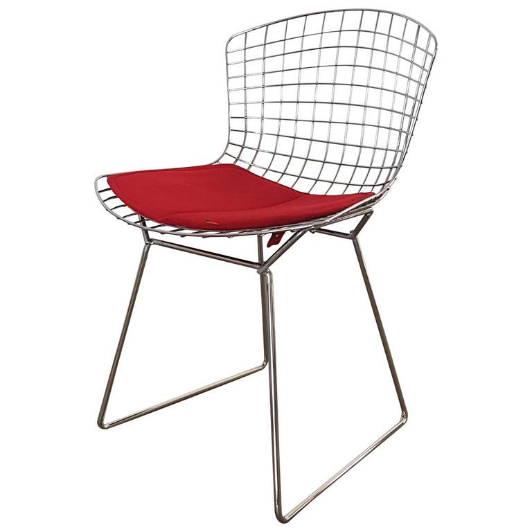 Harry Bertoia Italian Steel Wire Side Chair with Red Cushion, Mid-Century Modern For Sale