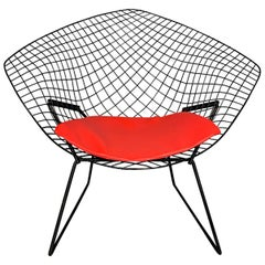 Harry Bertoia Mid-Century Modern Diamond Chair for Knoll with Red Seat, 1952