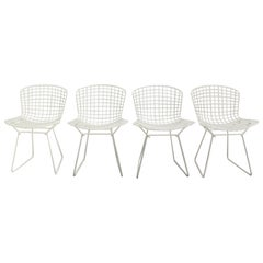 Harry Bertoia Mid-Century Modern Vintage Set of Four White Dining Chairs, 1950s