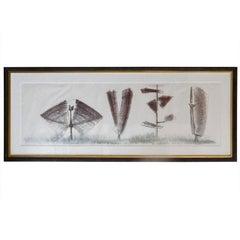 """Harry Bertoia Monotype """"4 Sculptures"""""""