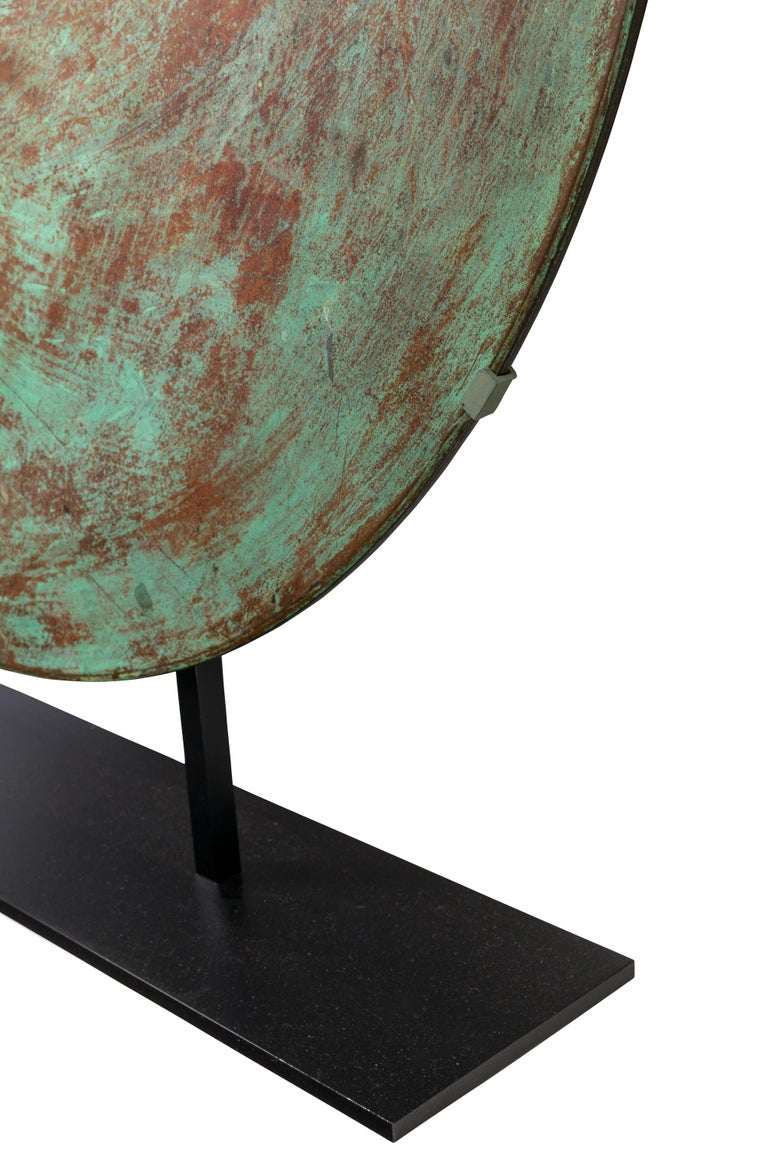 Harry Bertoia Patinated Solid Bronze Gong Sculpture, USA 1970s For Sale 1