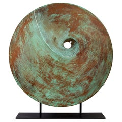 Harry Bertoia Patinated Solid Bronze Gong Sculpture, USA 1970s