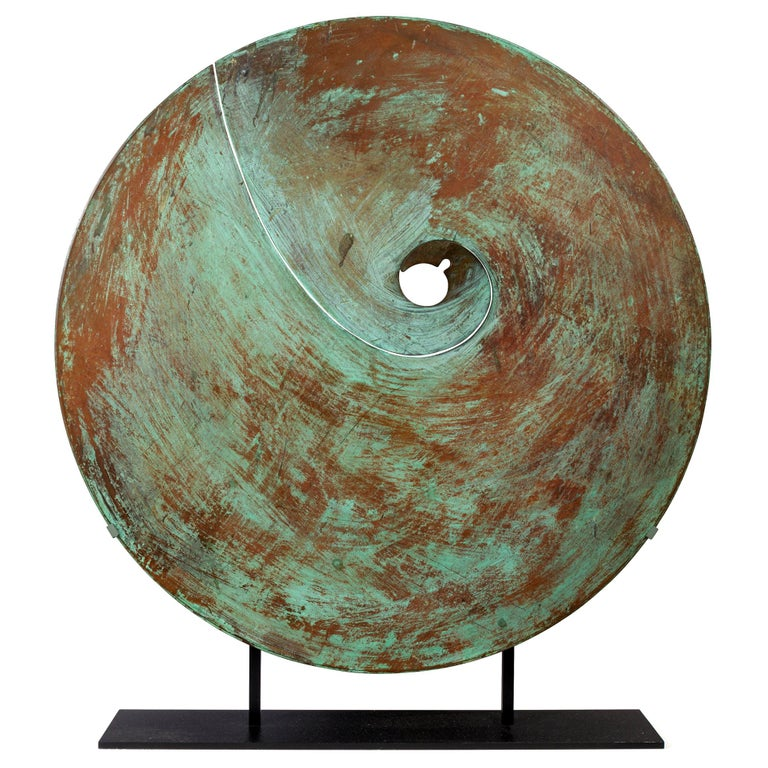 Harry Bertoia Patinated Solid Bronze Gong Sculpture, USA 1970s For Sale