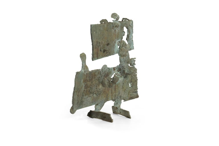 Bertoia Studios 1963 spill casting sculpture. Solid Bronze with applied patina. Comes with original drawing signed Harry Bertoia.