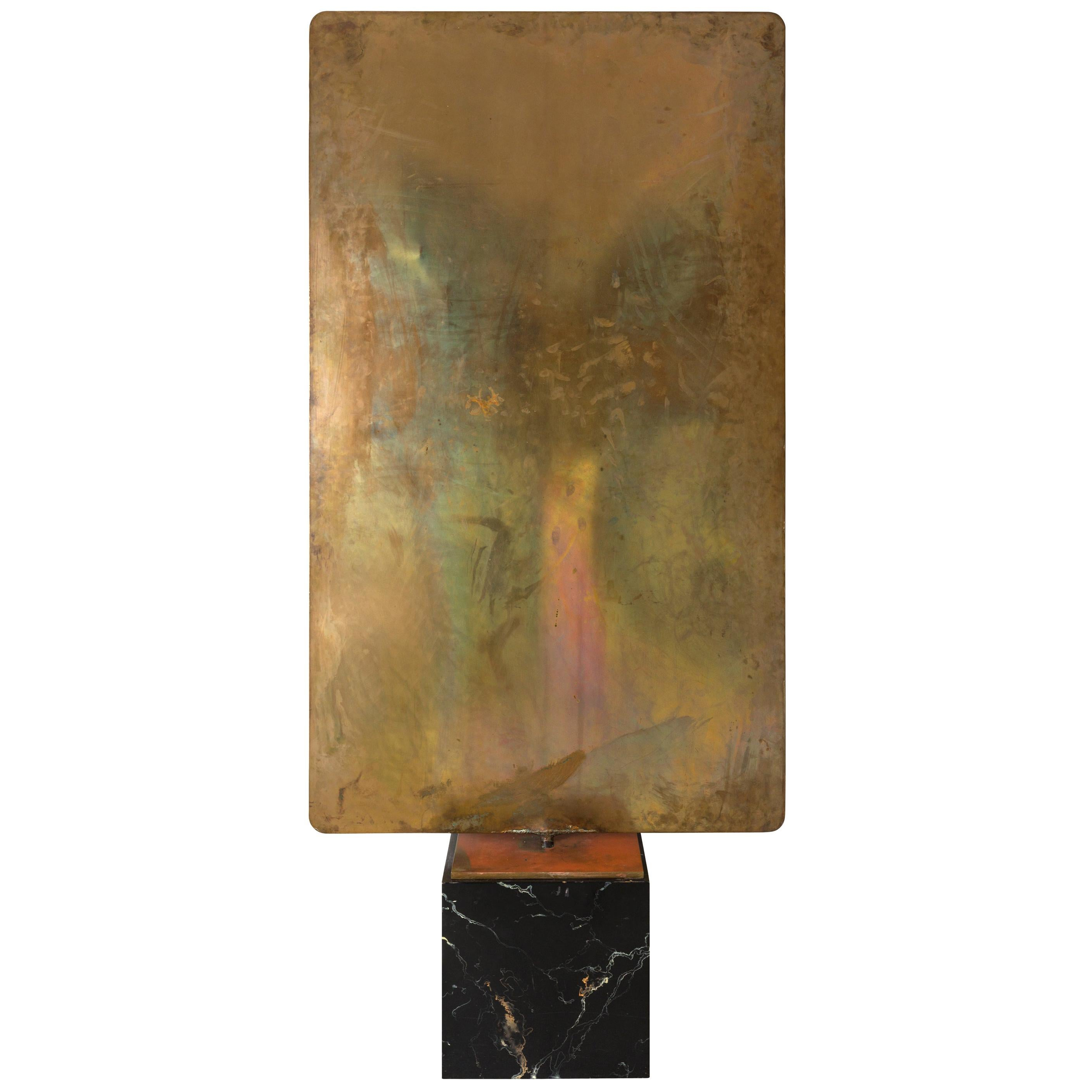 Harry Bertoia Silicon Bronze & Brass Hollow Gong on Wood Base with Mallet, 1972