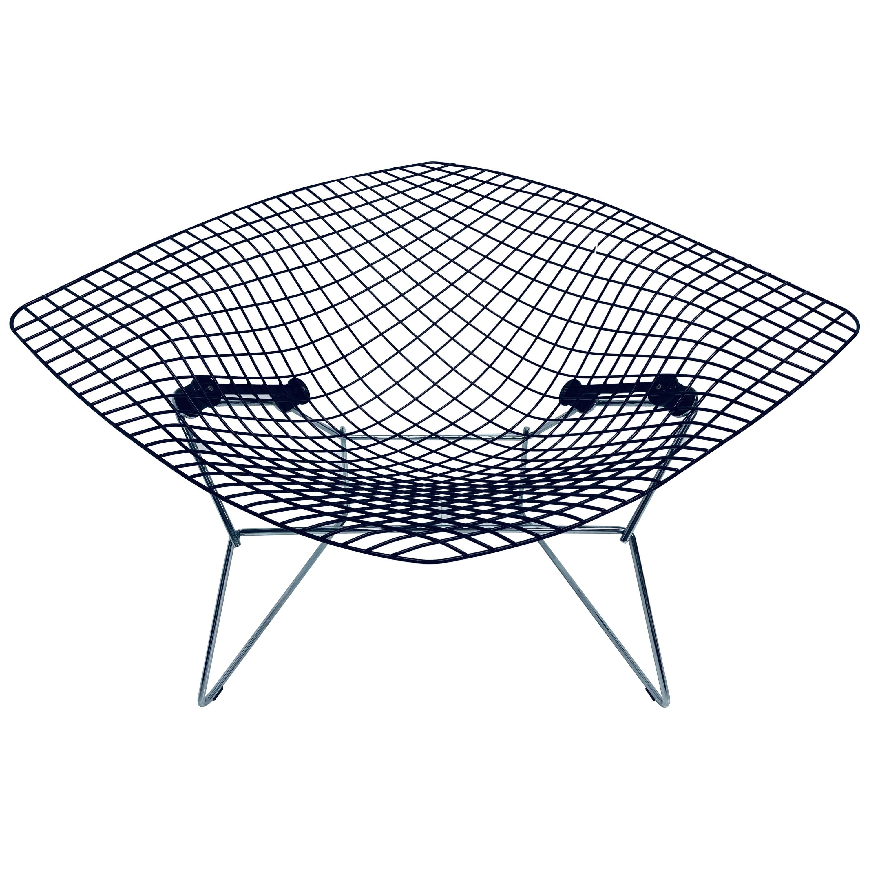 Harry Bertoia Wide Diamond Chair with Black Seat and Chrome Base for Knoll