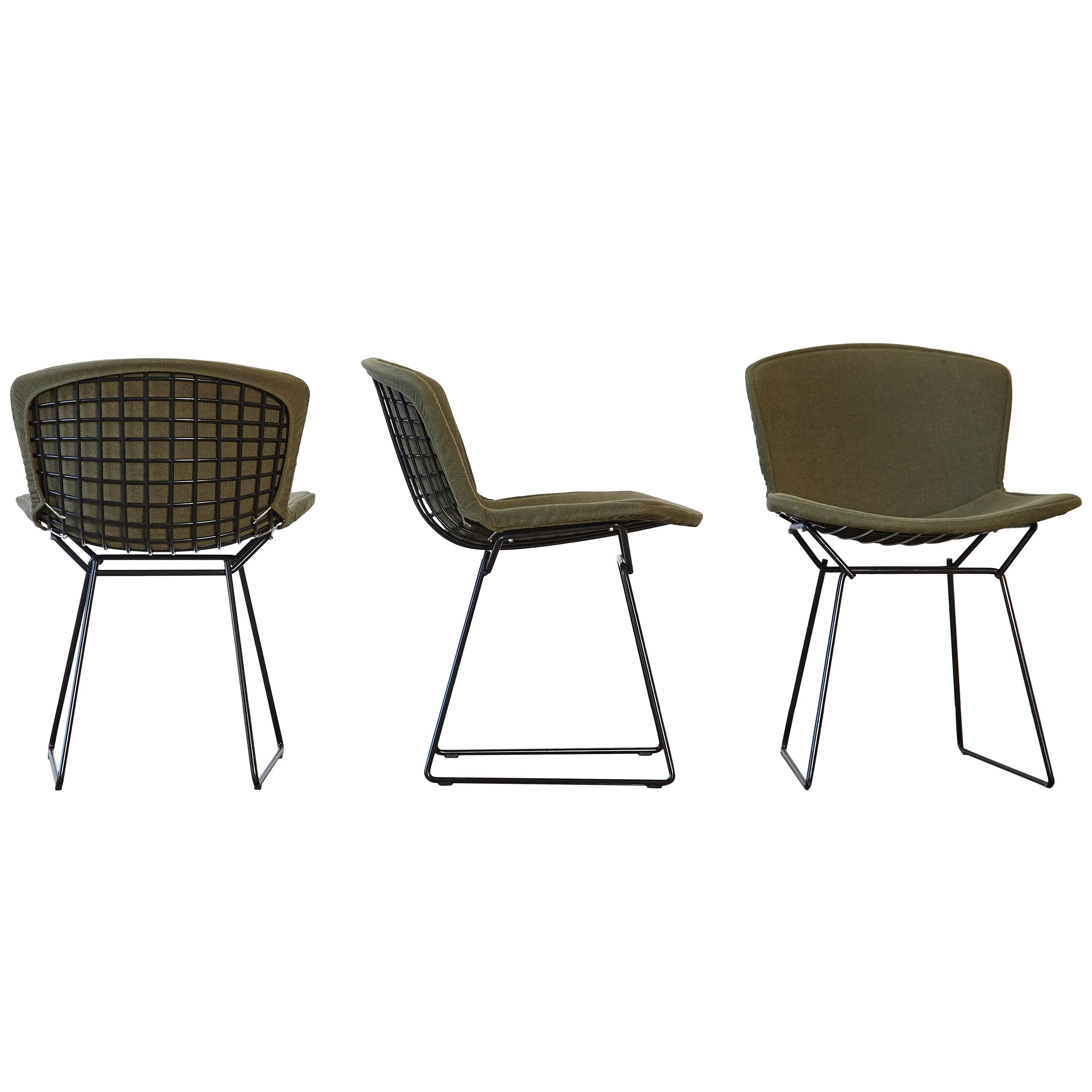 Harry Bertoia Wire Chairs with Original Green Seat Covers, Knoll, USA
