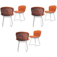 Harry Bertoia Wire Side Chairs Original Rust Red Fabric 1960s Set of Six