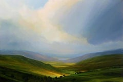 Change of Season - British landscape sky painting contemporary oil abstract art