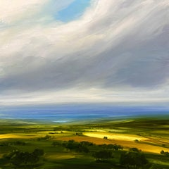 Distant Blue - Original landscape oil painting modern art 21st C