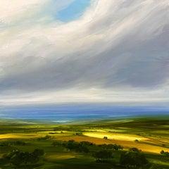 Distant Blue - Original landscape oil painting modern art 21st C