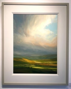 Evening Sun I - British landscape oil painting contemporary 21st C modern Art