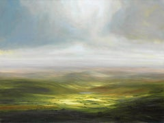 Great Escape - British landscape sky oil painting Contemporary modern abstract
