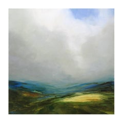 Late Summer on the Pennine, semi-abstract painting, British Landscapes
