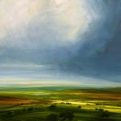 Summer Skies - Original landscape countryside oil painting modern art 21st C