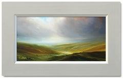 Sunlit Valley - British landscape sky painting contemporary abstract oil modern