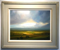 Warm Evening Sun - Landscape oil painting contemporary modern art 21st C sky